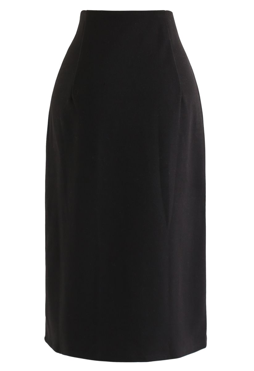 Flap Front Spliced Midi Skirt