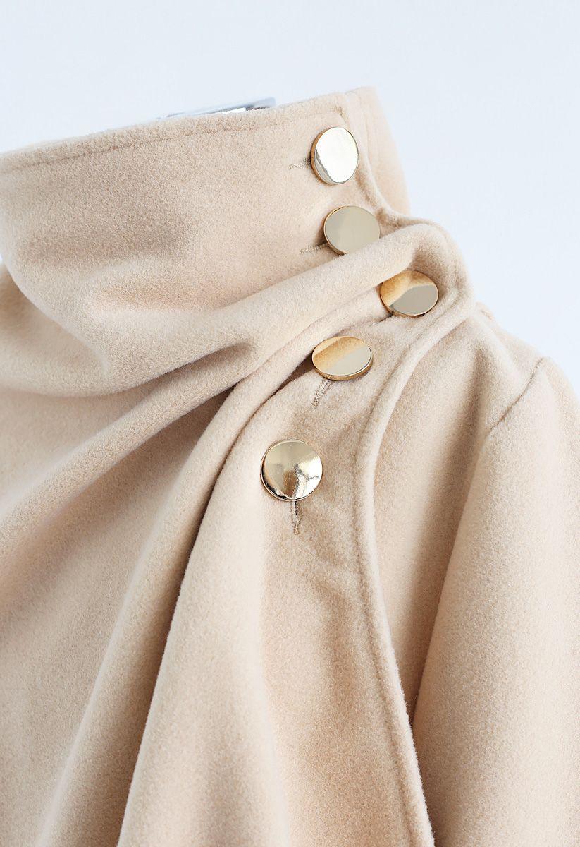 Asymmetric Hem Button Wrap Cape Coat in Light Tan