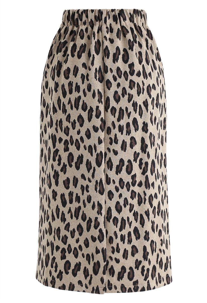 Tender Leopard Knit Pencil Midi Skirt in Tan