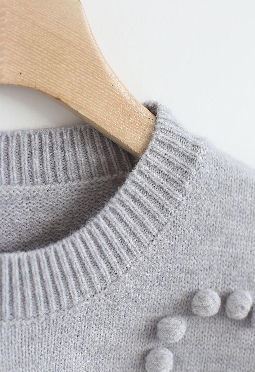 Pom-Pom Embellished Knit Sweater in Grey