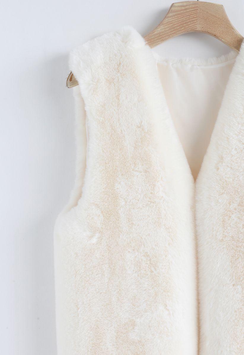 Cream Mid-Length Faux Fur Vest