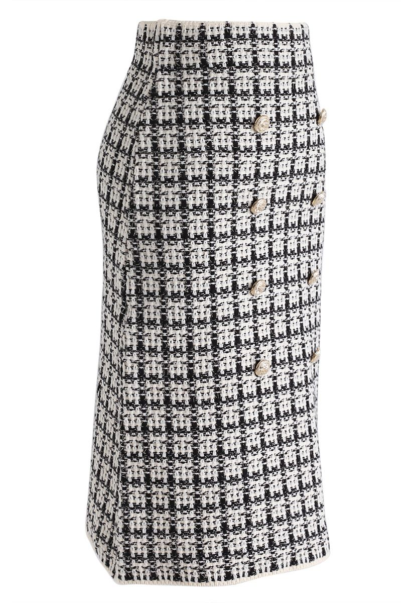 Buttons Decorated Grid Pencil Midi Skirt in Black