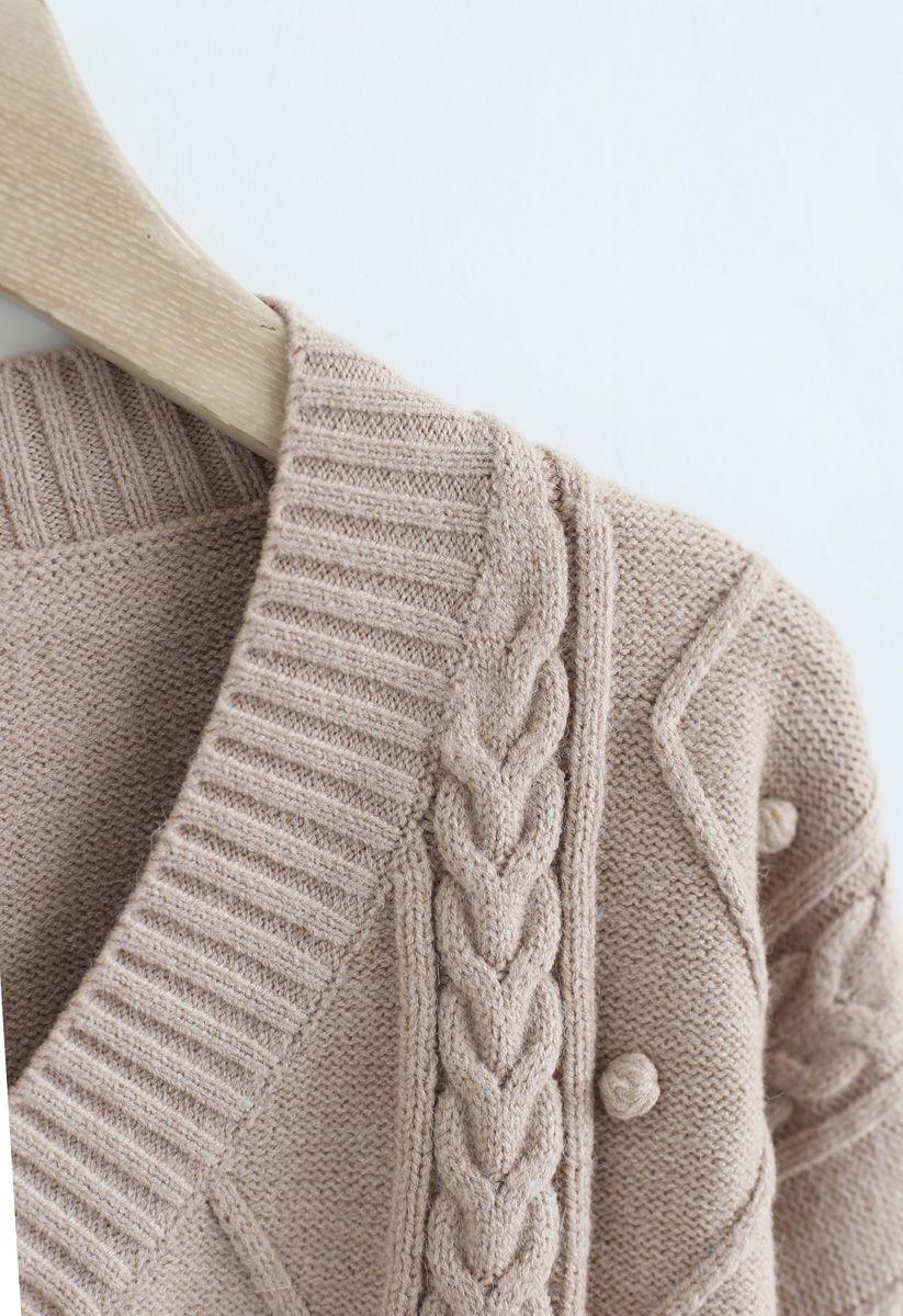 Pom-Pom Braid V-Neck Knit Sweater in Tan