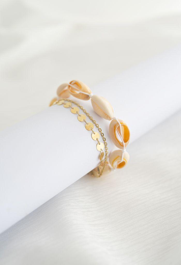 Triple Layer Metal Chain Shell Bracelet