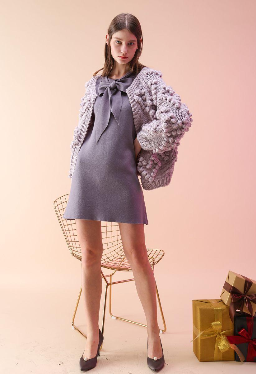 線球裝飾針織開衫-淡紫色