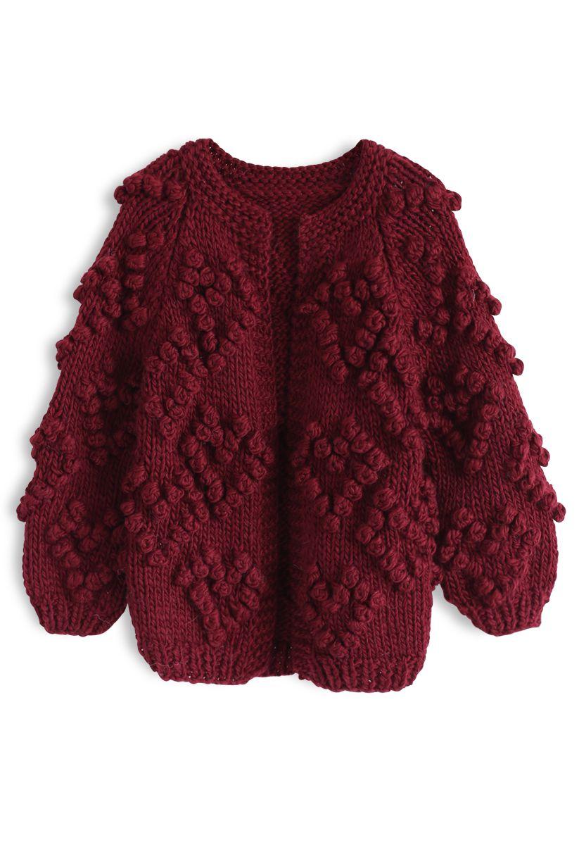 線球裝飾針織開衫童装-酒紅色