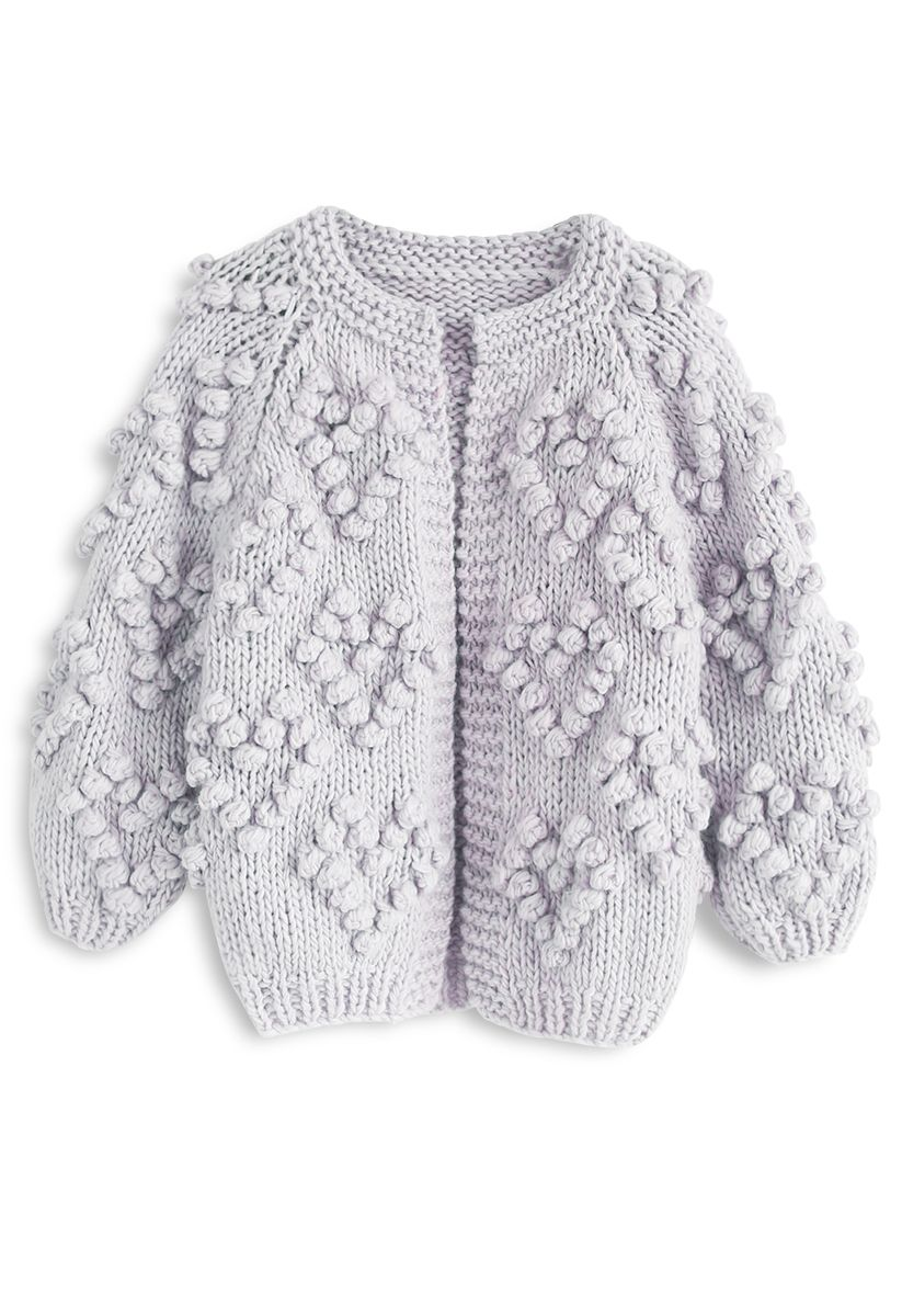 心形絨球裝飾針織開衫童裝-淡紫色