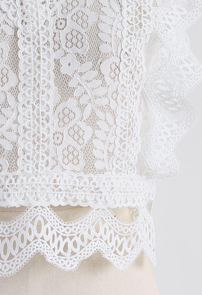 鉤邊蕾絲無袖短款上衣 - 白色