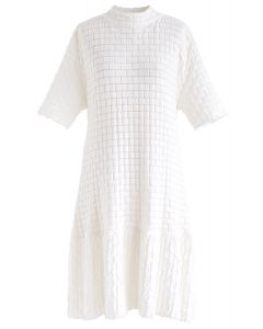 Embossed Frill Hem Knit Dress in White