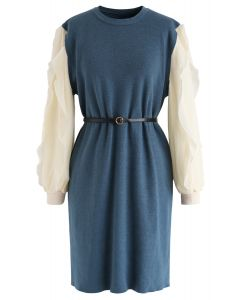 Belted Ruffle Sleeves Spliced Knit Shift Dress in Blue