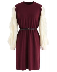 Belted Ruffle Sleeves Spliced Knit Shift Dress in Wine