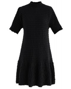 Embossed Frill Hem Knit Dress in Black