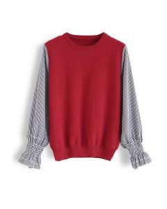Stripe Sleeves Spliced Knit Top in Red