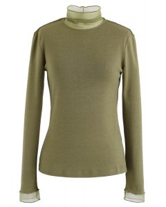 Mesh Inserted Knit Top in Army Green