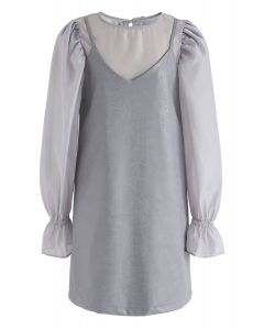 Semi-Sheer Puff Sleeves Top and Faux Leather Cami Dress Set in Grey