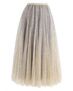 Shimmer Sequins Embroidered Mesh Tulle Pleated Skirt