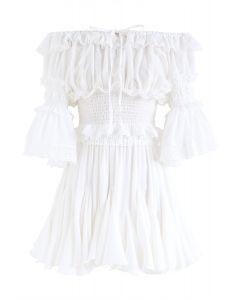 Off-Shoulder Crop Top and Ruffle Mini Skirt Set