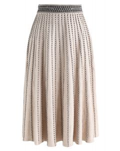 Dotted Lines Knit Midi Skirt in Light Tan