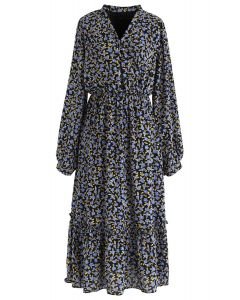 Blue Posy Frill Hem Wrap Dress