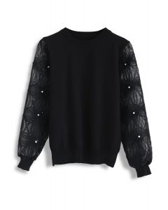 Pearls and Sequins Trim Mesh Sleeves Knit Top in Black