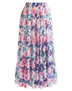 水彩印花荷葉裙擺半身長裙--粉色