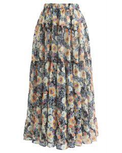 水彩印花荷葉裙擺半身長裙--黃色