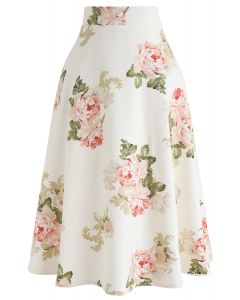Rose Print A-Line Flare Midi Skirt in Cream