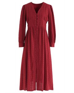 Perforated Embroidered Button Down Boho Dress