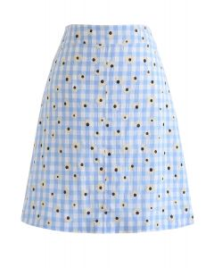 Summer Daisy Printed Gingham Bud Skirt in Blue
