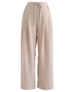 Drawstring High-Waisted Wide-Leg Pants in Sand