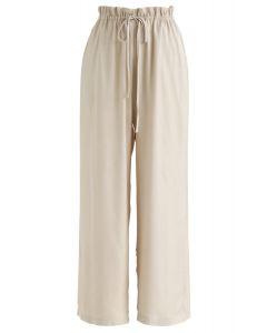 Simplistic Drawstring Wide-Leg Pants in Sand