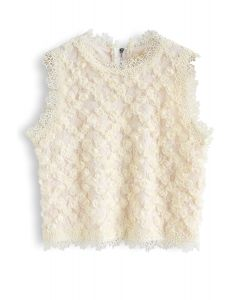3D Roses Full Lace Sleeveless Top in Cream