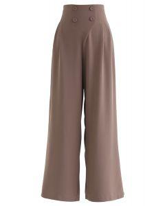 紐扣裝飾濶腿直筒長褲