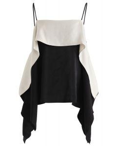 Contrast Color Batwing Sleeves Cold-Shoulder Top in Black