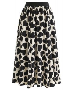 All-Over Black Heart Pattern Midi Skirt