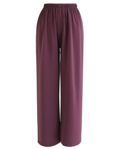 Sleek Wide-Leg Buttoned Crop Pants in Berry