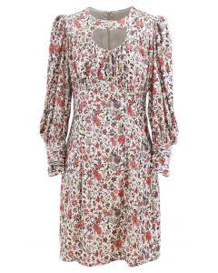 Keyhole Front Puff Sleeves Floral Velvet Dress