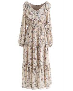 V-Neck Floral Print Frilling Chiffon Dress