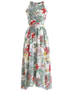 Tropical Garden Halter Neck Maxi Dress