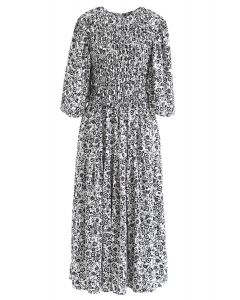 Richly Floret Dots Shirred Maxi Dress in White