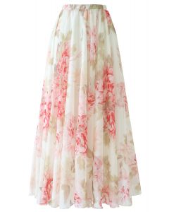 Brilliant Floral Watercolor Maxi Skirt