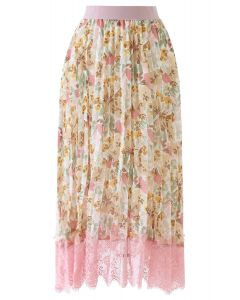 Lace Hem Floral Watercolor Pleated Chiffon Skirt in Pink