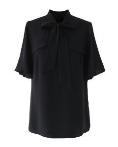 Bow Tie Flare Sleeves V-Neck Top in Black