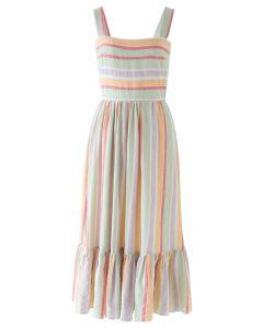 Summer Vibe Block Stripes Bowknot Cami Dress