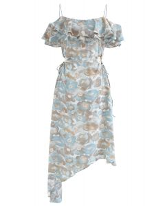 Floral Asymmetric Cold-Shoulder Dress