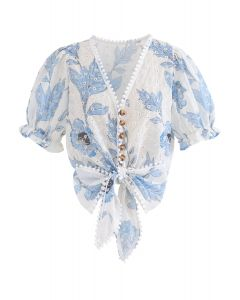 Blue Floral Printed Eyelet Embroidered Button Down Crop Top