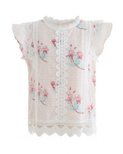 Floral Print Wavy Crochet Embroidered Sleeveless Top in Light Pink