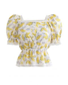 Flower and Shadow Buttoned Peplum Top