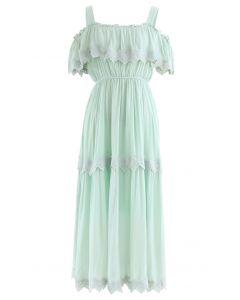 Crochet Trim Cold-Shoulder Dress in Mint