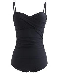 褶飾純黑連體泳衣